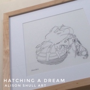 Hatching a Dream, ink, ©2017 Alison Shull, prints for sale