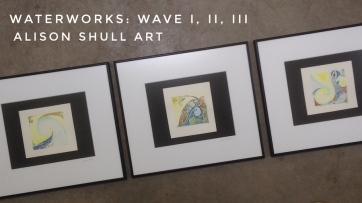 Water Works: Wave I, II, III; ink & watercolor; ©2017 Alison Shull