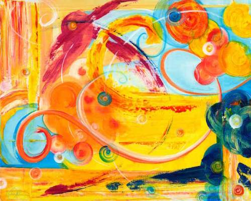Dreaming, Tangerine - abstract painting by Alison Shull