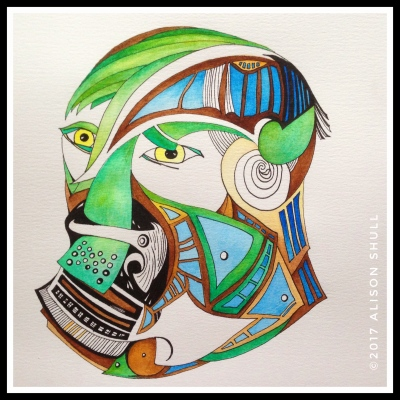Peace Armor: Gurading Words before using Wisely - Watercolor painting by Alison Shull